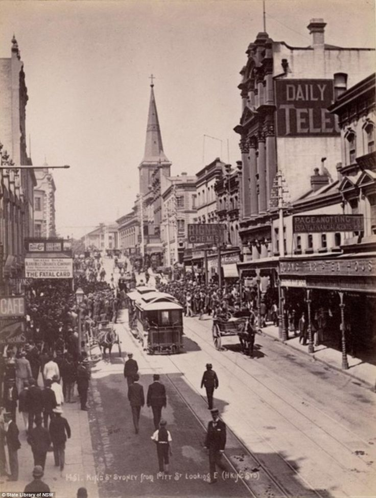 Sydney in 1889 on King Street with Quong Tart's Loong Shan Tea House on the right