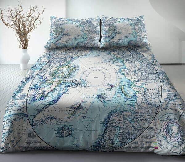 Although The Map Is Less Useful The Subdued Colour Palette Is Suitable For A Bedroom Duvet Cover Master Bedroom Luxury Bedding Sets Bed Linens Luxury