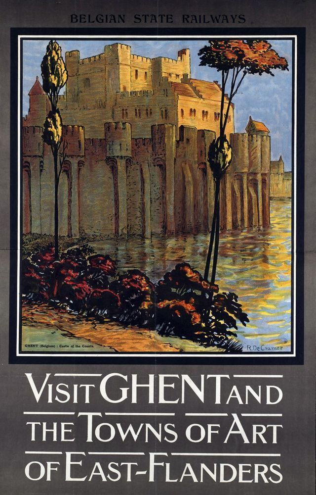 #vintage illustrated #travel poster canvas print flanders belgium a3 from $16.77