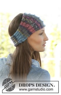 "Rainbow by DROPS Design. ""Colorful and soft. Keeps your ears warm when it's chilly!"" Knitted DROPS head band in ""Big Fabel""."