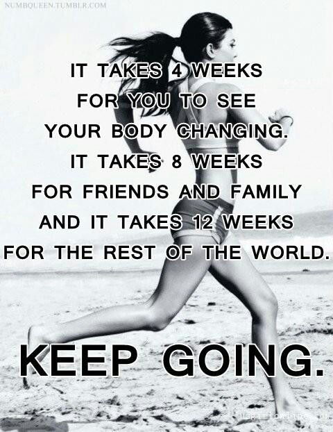 4 to 12 WEEKS ~ the time will pass anyway... You'll FEEL better, Function better! Looking better is just a PERK!