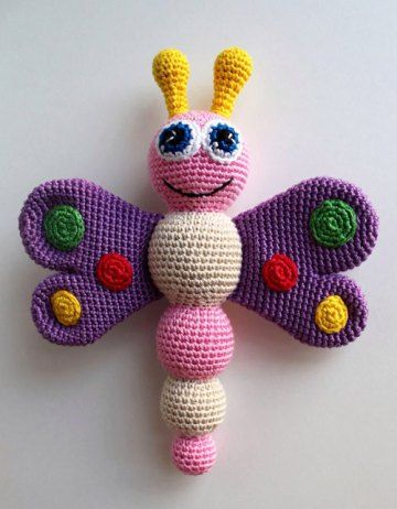 Crochet Butterfly Baby Rattle Amigurumi - Free English Pattern