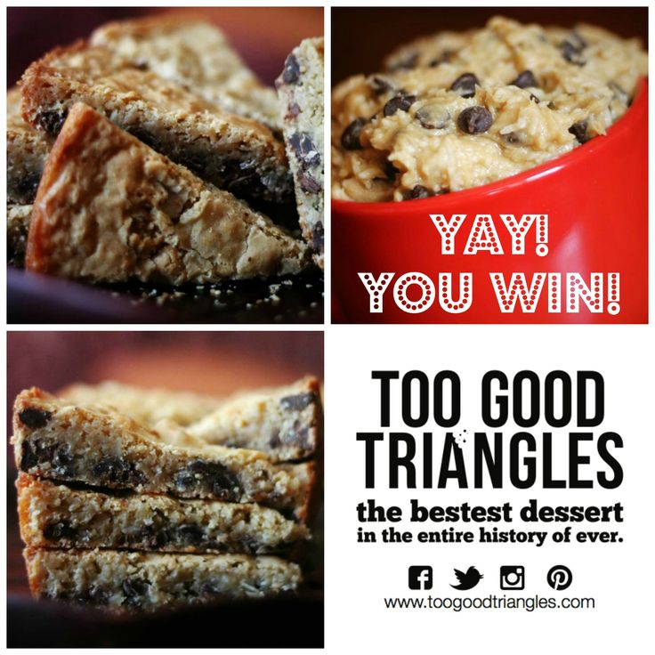 "Congratulations to Tracy Yetman on winning the ""TGT Returns"" Contest :) #TGT #toogoodtriangles #dessert"