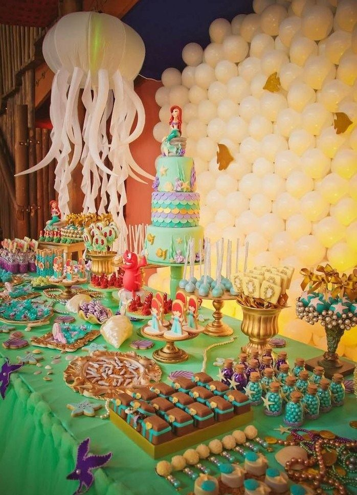THE LITTLE MERMAID BIRTHDAY PARTY DECORATIONS A PEQUENA SEREIA ARIEL FESTA INFANTIL.04