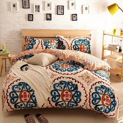 Queen Size :   Quilt cover : 200cm * 230cm * 1 Bed sheet : 250 cm * 250 cm * 1 Pillowcase : 48 cm * 74 cm *2 NOTE:    1. Because Country`s differen...