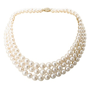 Triple Strand Freshwater Graduated 6-10mm Pearl Necklace with a 14kt Yellow Gold Clasp. 16 AAA inside measurement.