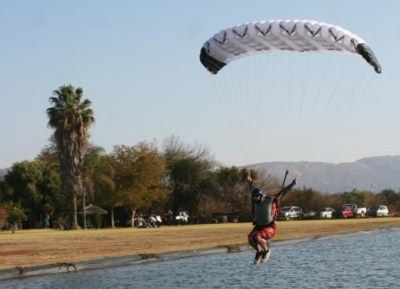 South African Skydiving (Canopy piloting) champ Chris Teague trying out his new 71 square foot PD Peregrine Parachute!