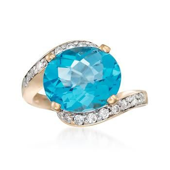 Ross-Simons - 9.00 Carat Blue Topaz and .35 ct. t.w. Diamond Ring in 14kt Yellow Gold - #836333