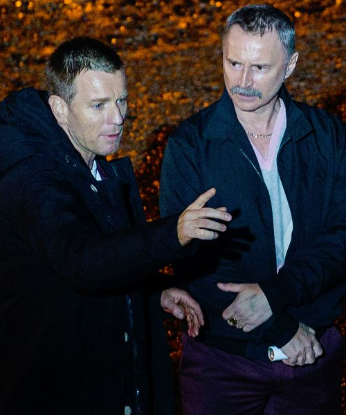 Ewan McGregor and Robert Carlyle on set of Trainspotting 2 on June 13, 2016 in Edinburgh,Scotland