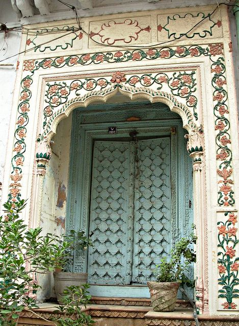 Havelis in Naughata - Old Delhi. Somehow reminds me of the Baptistry doors in Florence. A doorway to another world.