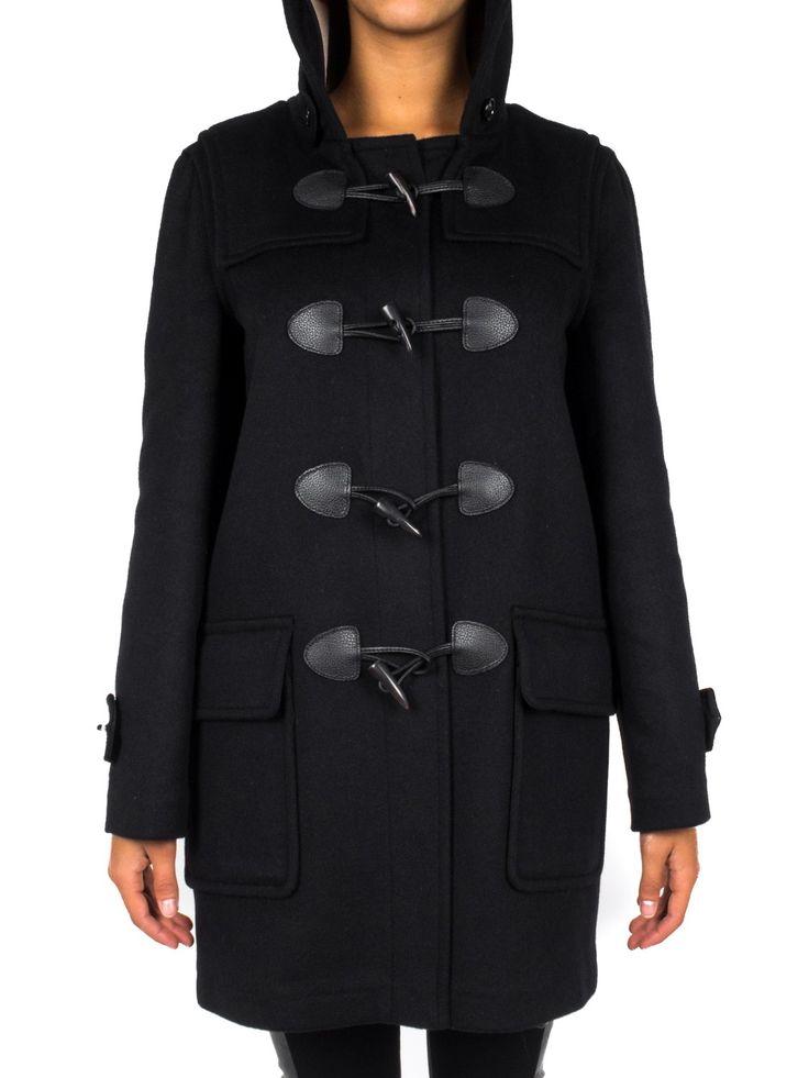 BURBERRY - Montgomery in lana con applicazioni in pelle - Nero  - Elsa-boutique.it #Burberry <3