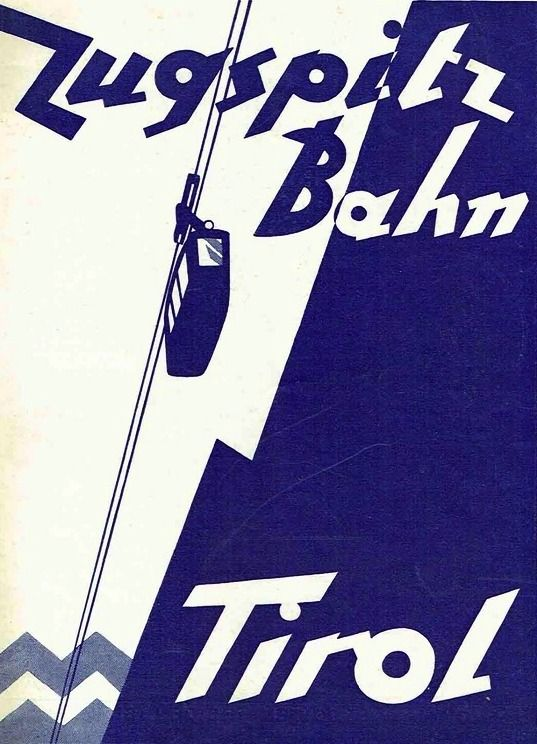 Wilhelm Nicolaus Prachensky Cover Design 'Zugspitz Bahn Tirol' 1920s.