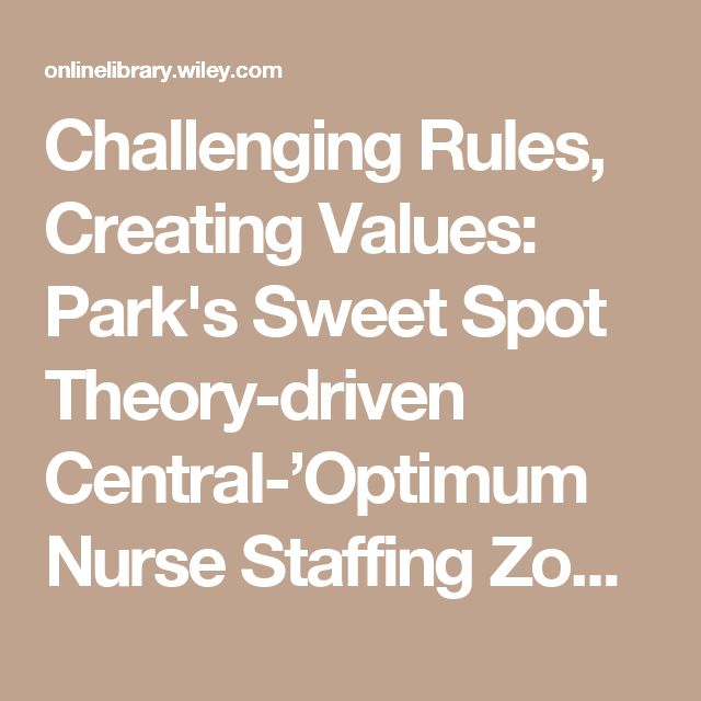 Challenging Rules, Creating Values: Park's Sweet Spot Theory-driven Central-'Optimum Nurse Staffing Zone' - Park - 2017 - Journal of Advanced Nursing - Wiley Online Library