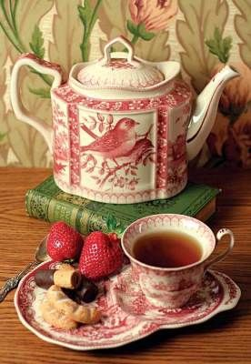 Staffordshire tea set - red transferware