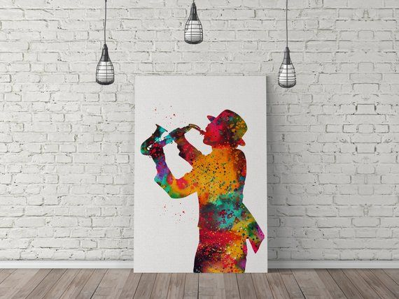 Jazz Music Jazz Player Watercolor Poster Room Decor Wall Art Watercolor Painting Canvas Art 1351 Exviver Canvas Art Painting Canvas Painting Canvas Art