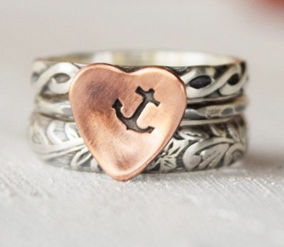 Boho Anchor Ring Set  You Anchor My Heart  by lovestrucksoul