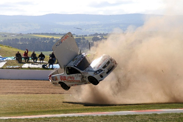 Allan Letcher driver of the No.85 United Forklifts WIlliams Rac Allan Letcher Team rolls his Holden ute at the Chase, during the V8 Ute Racing Series at Bathurst. (Photo by Australian V8 Ute Racing via Getty Images)