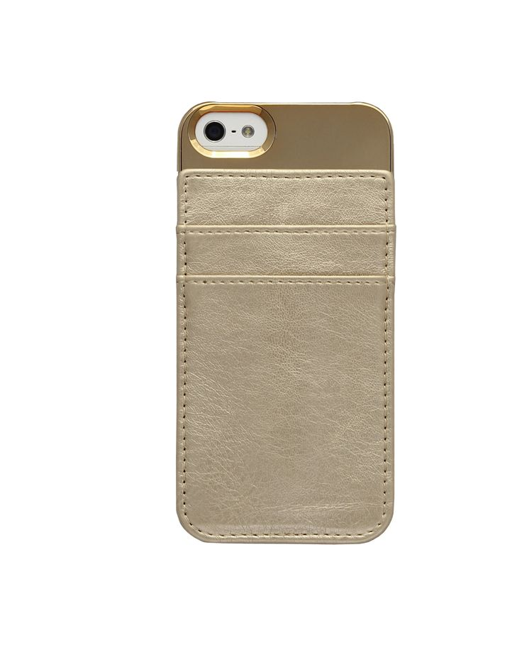 Card Holder Case for iPhone 5/5S in Metallic Gold with 2 CC Slots