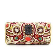 India importaciones de piedras preciosas naturales mano de lujo con cuentas bolso de noche del banquete de lujo pesado embrague de costura(China (Mainland))