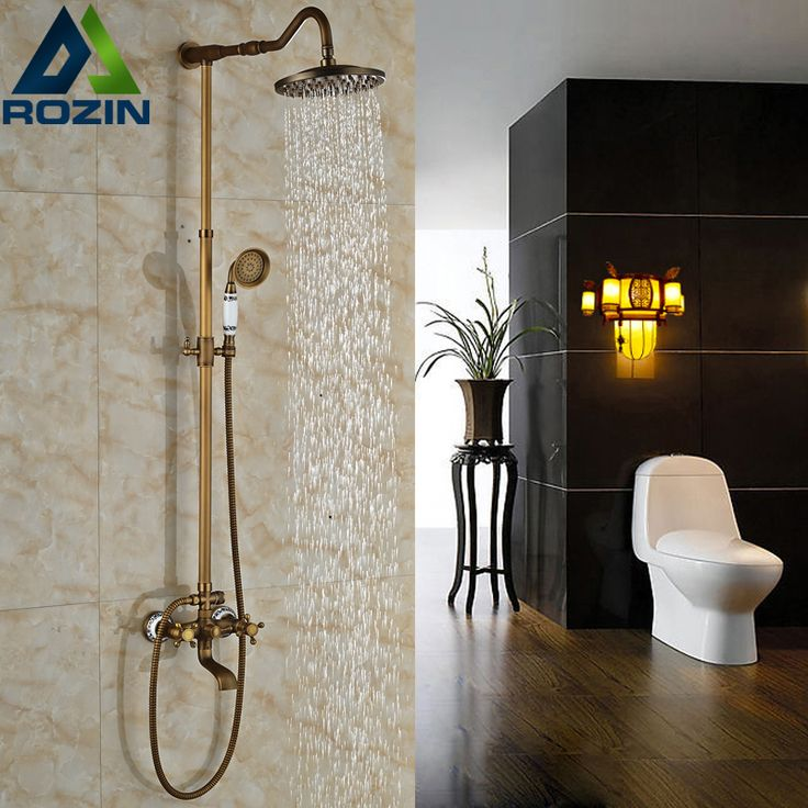 "$118.20 | Buy Wall Mounted 8"" Rainfall Shower Set Dual Handles Antique Brass Ceramic Hand Shower Bath Shower Mixer Taps from Reliable mixer pioneer suppliers on rozin Official Store"