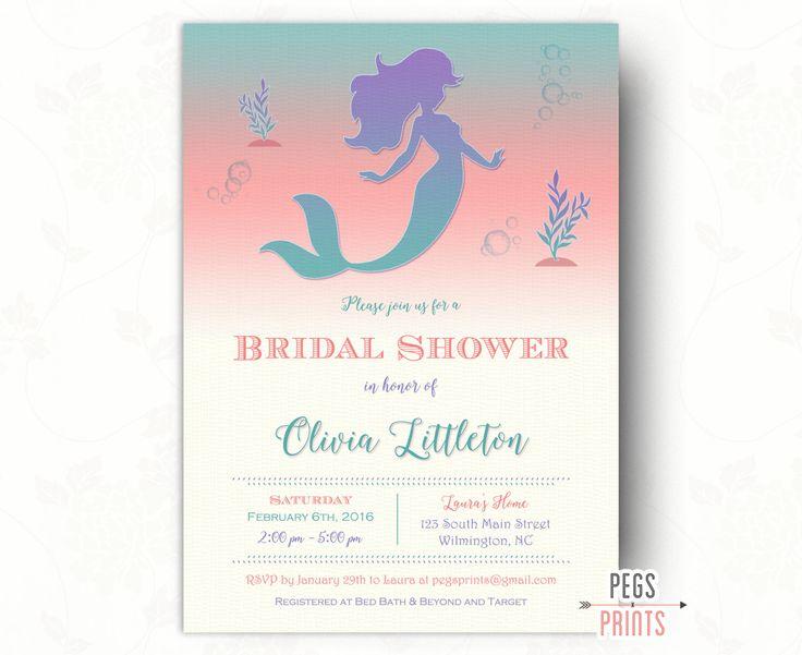 Ombre Mermaid Bridal Shower Invitation (Printable) Fairytale Bridal Shower Invitation - Under the Sea Bridal Shower Invitation - Watercolor by PegsPrints on Etsy