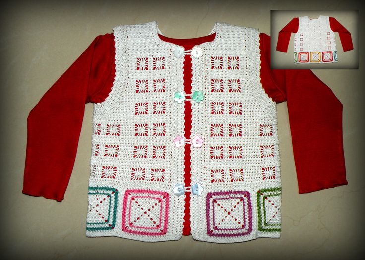 A crocheted vest for a baby girl