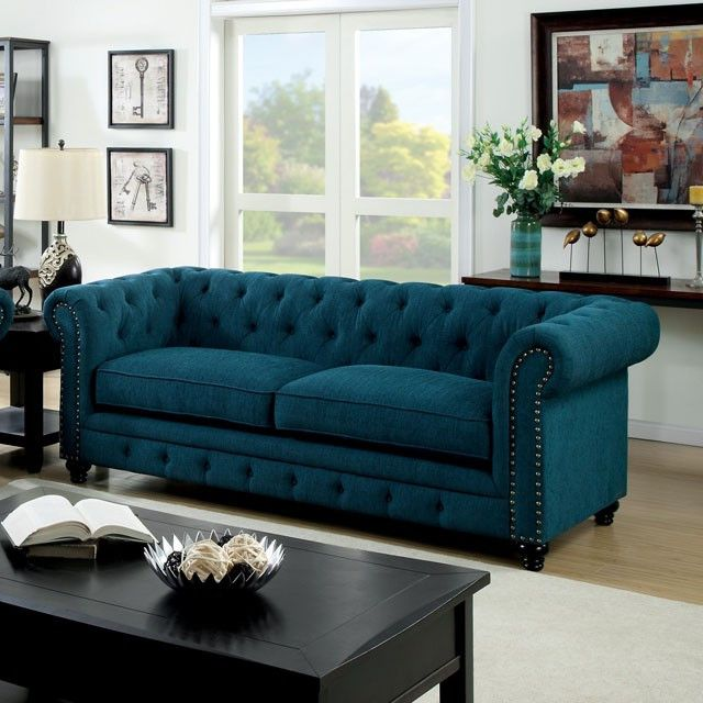 Stanford Dark Teal Sofa- CM6269TL-SF Description : Featuring button tufted cushions with nail head trim borders, this fabric sofa set offers a timeless design bound to fit any living room. Features :                                                                                                                                                                                  More