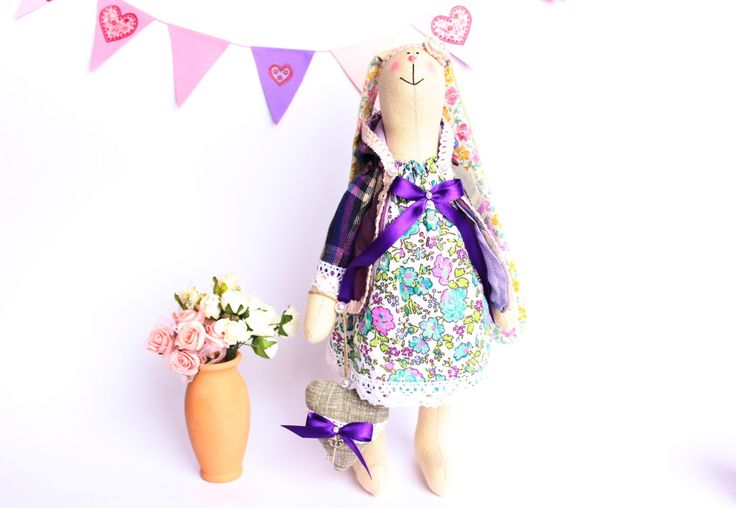 Sweet fabric bunny, Tilda rabbit in a flower dress, Stuffed bunny with a heart, Animals toys for girl, Tilda stuffed toys. by TildaArt on Etsy
