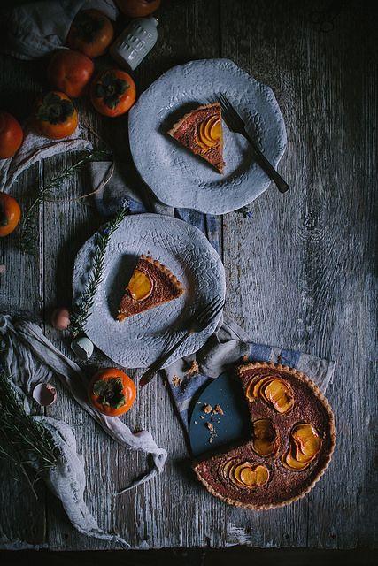 Spiced Persimmon & Creme Fraiche Custard Tart | Adventures in Cooking ●●fuzz sez: Amazing food photo...●●