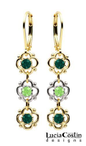 14K Yellow Gold Plated over .925 Sterling Silver Gorgeous Dangle Earrings Designed by Lucia Costin with 3 Delicate Flowers and Dots, Embellished with Emerald and Peridot Green Swarovski Crystals; Handmade in USA Lucia Costin. $36.00. Update your everyday style with inspiration when wearing this piece of jewelry. Irresistible Dangle earrings by Lucia Costin. Enhanced with aquamarine and turquoise Swarovski crystals. Unique jewelry handmade in USA. Splendid combination of dang...