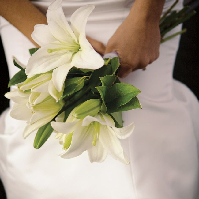 Wedding Oriental Bouquet Made Of White Casalanca Lilies These Have Larger Blooms Than Asiatic