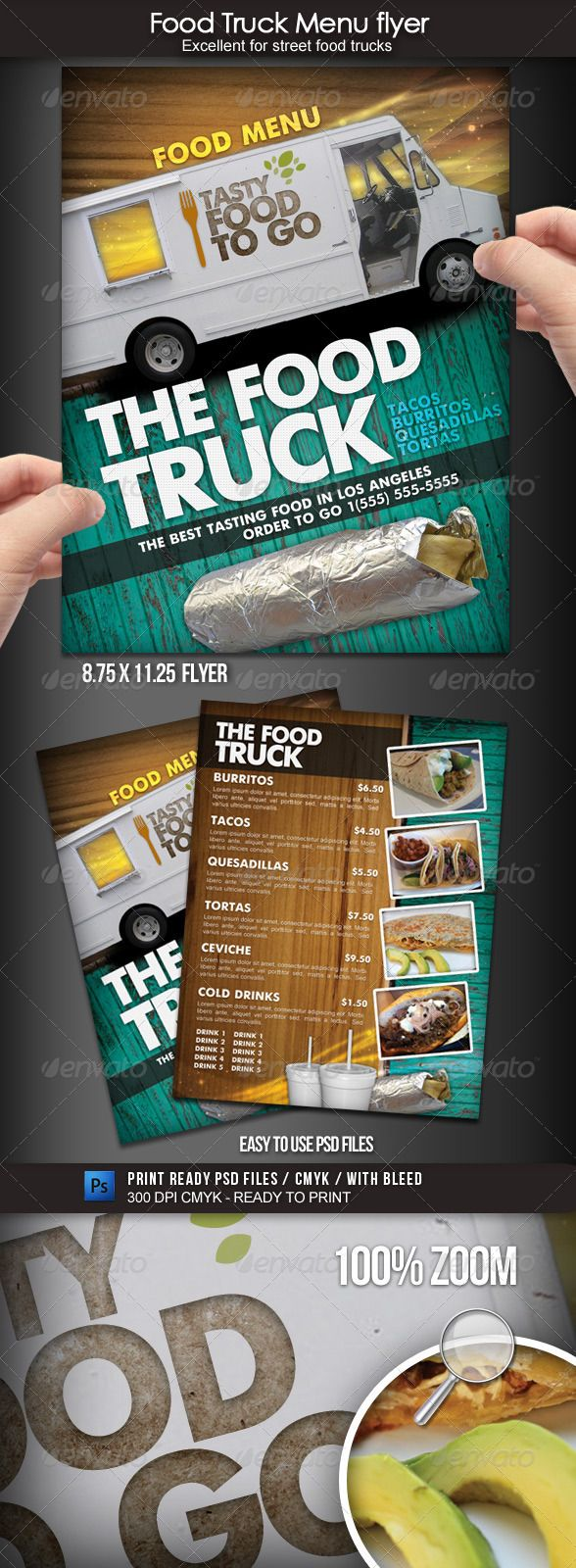 Food Truck Menu Flyer - Food Menus Print Templates