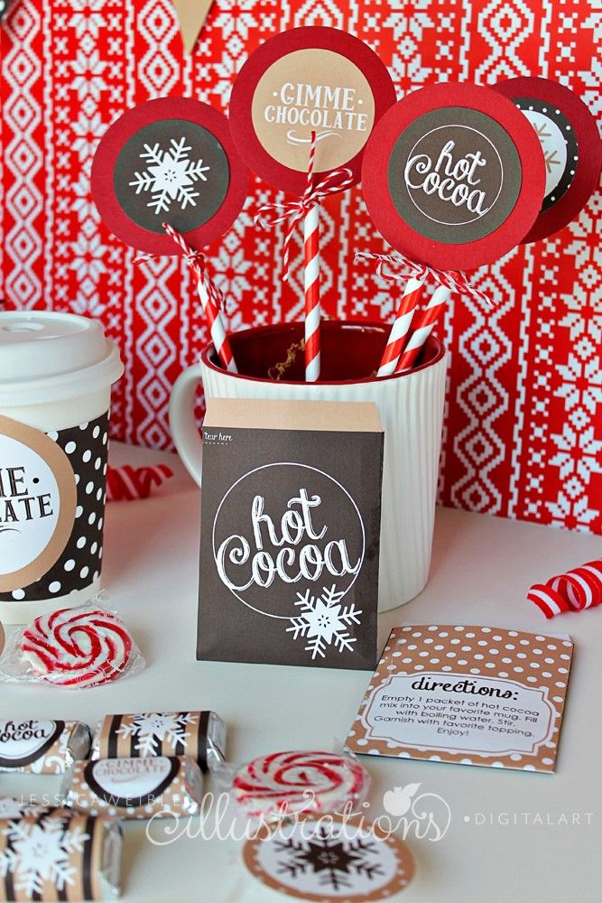 Hot Cocoa Bar Printable Collection - JW Illustrations - #Christmas #party Hot Chocolate Bar Printables #diy #holiday
