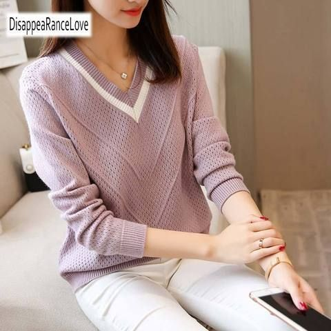 a4bd693383 Autumn Winter Female Pullovers V Neck 2018 New Casual Long Sleeve Fashion  Sweet Loose Sweater For Women Warm Knitted Jumper