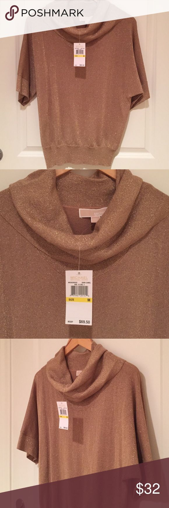 Michael Kors Dark Camel Top w/ Gold Sparkles. NWT! Michael Kors dark camel top with gold sparkles. Cowl neck and banded waist. NWT! MICHAEL Michael Kors Tops