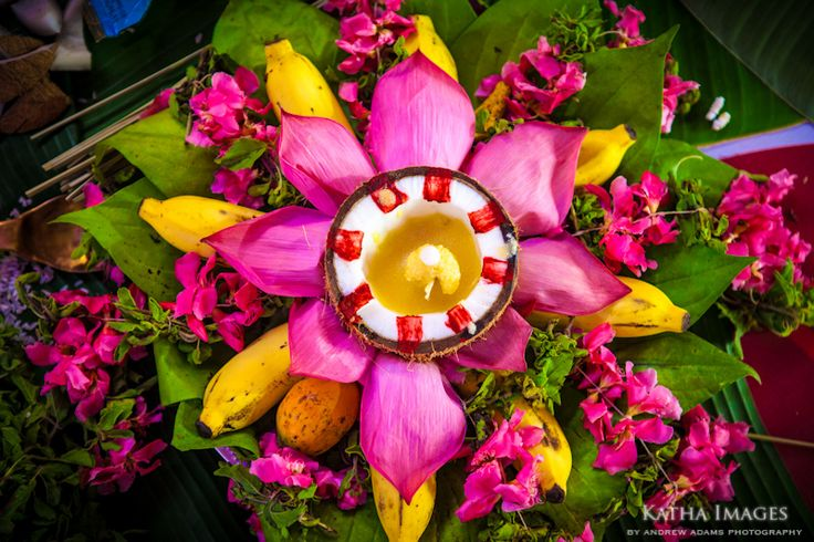 Colourful floral offering at a wedding in Kerala. Photo Andrew Adams for Katha Images. www.breathedreamgo.com