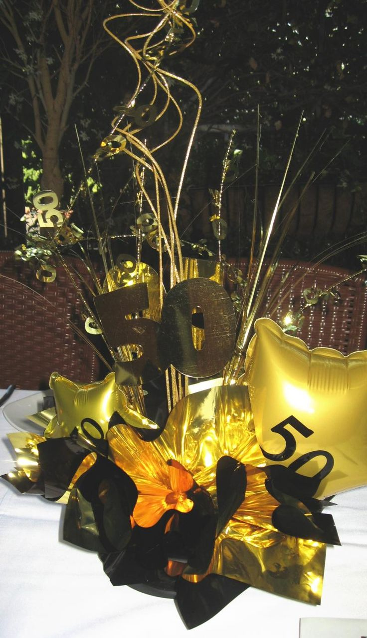 Birthday table decorations for men - 50th Birthday Party Gold Table Decor Gold Decoration For 50th