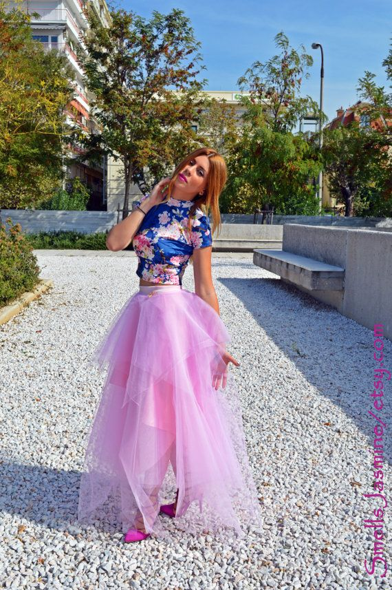 Pink Tulle Skirt Women Tulle Skirt Maxi Skirt by SmellsJasmine