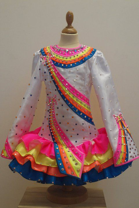 Rainbow Irish Dance Solo Dress Costume tardis blue as  opposed to white