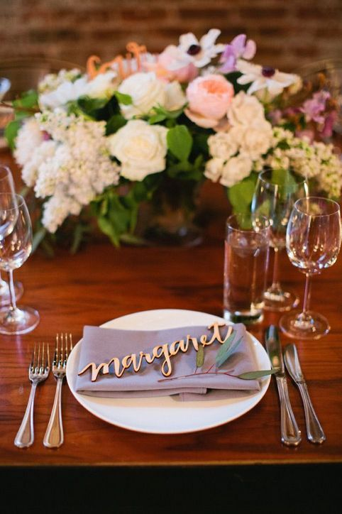 Prediction: Wooden Details Wood, wood, wood! We think couples will move in the direction of more natural elements in their wedding, a stark departure from shiny sparkly things. These handmade wooden place cards are a great example. —Jove, Jove Meyer Events; 16-2016-wedding-trends-1217-courtesy