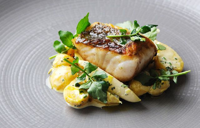 Hake fillet with golden beet and radish salad, by Simon Rogan via Great British Chefs