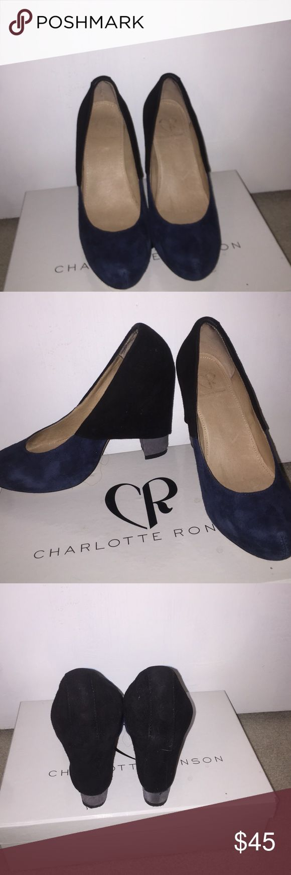 "Charlotte Ronson pumps Navy/black/gray suede pumps. Some wear and tear. 4"". More pics available. Charlotte Ronson Shoes Heels"