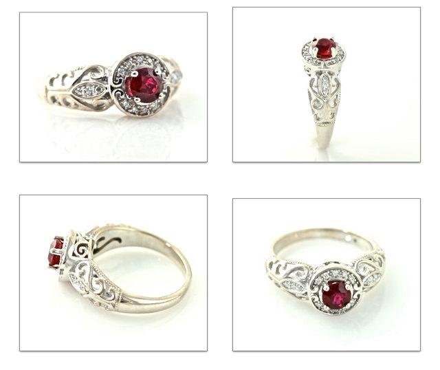 14K Vintage Ruby Ring Diamond Halo Ruby Engagement by RareEarth