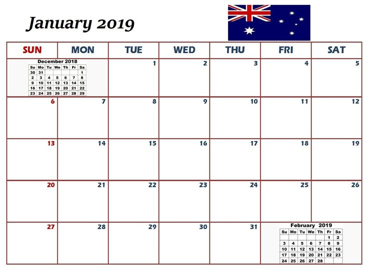 2019 January Calendar With Holidays 250+ January 2019 Calendar