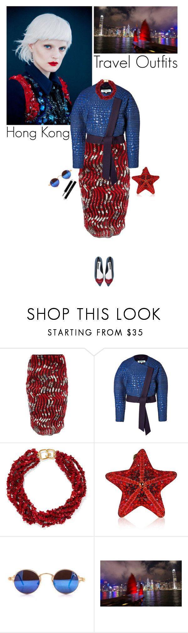 """""""Hong Kong"""" by helena99 ❤ liked on Polyvore featuring GUINEVERE, Peter Pilotto, Kenzo, Kenneth Jay Lane, Judith Leiber, National Geographic Home and Alice + Olivia"""