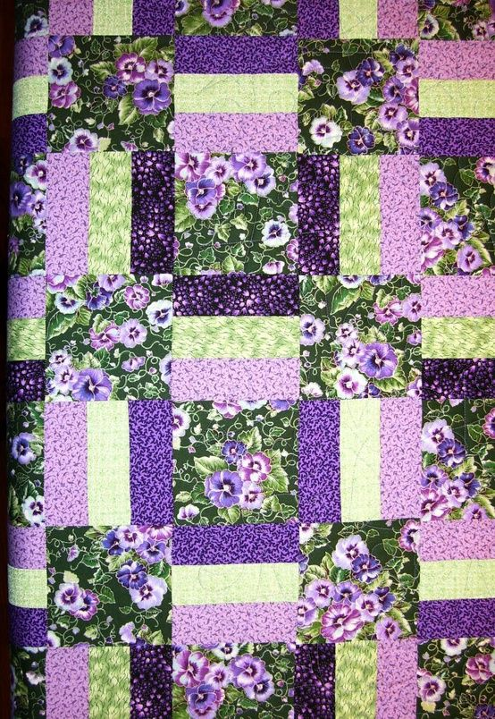 Purple Pansies - gorgeous!!.great idea to showcase that pretty large scale fabric in my stash!!