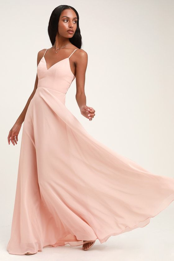 0555f8f2bbcf Glam Blush Pink Dress - Lace Maxi Dress - Button Back Maxi Dress
