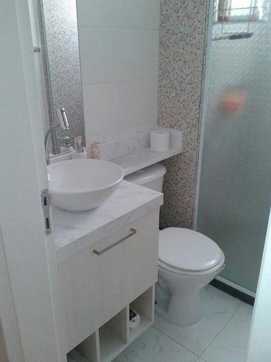 Banheiro com azulejos imitando pastilhas  Oh lá em casa!  Pinterest -> Banheiro Com Azulejo Pastilha