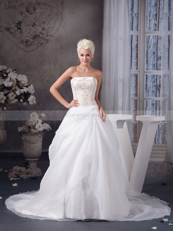 Strapless Organza and Satin Wedding Gown with Structured Beading
