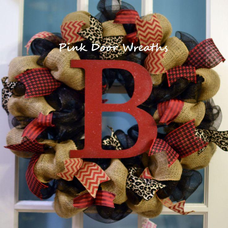 #Monogram #Burlap #Wreath: black red and natural colors by #PinkDoorWreaths in #Louisville KY